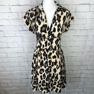 Leopard Print 100% Silk Button Up Shirt Dress